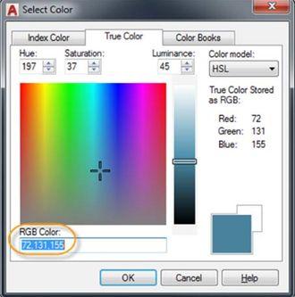 Okno pro výběr skutečné barvy